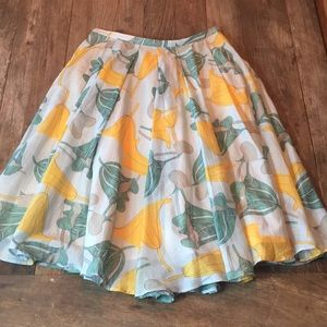 RIANI Turquoise Yellow Green Floral Full Skirt 8